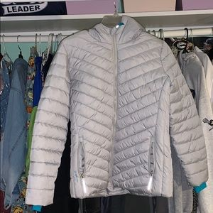 Grey and blue puffer jacket :)